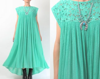 Vintage Cutwork Gauze Cotton Dress Turquoise Cotton Dress Summer Sun Dress Floral Embroidered Tent Dress Sleeveless Maxi Dress (M/L) E8087