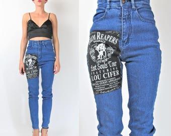 90s Vintage High Waist Jeans Mom Acid Wash Jeans Punk Lucifer Skeleton Grim Reaper Patch Skinny Jeans Ultra High Waisted Jeans (XS) E101066