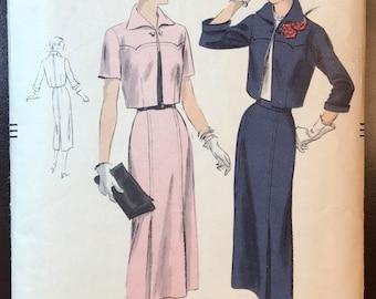 Vintage Vogue 1950 Bolero Suit Pattern # 6988 - Walking Skirt & Yoked Jacket- Size 16, Bust 34
