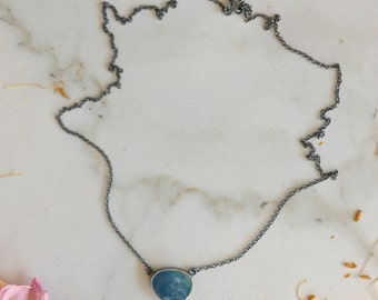 A City from Orbit Blue Boulder Opal Solitaire Necklace in Oxidized Sterling Silver