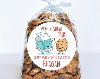Valentine's Day Stickers - Milk & Cookies - We're a Great Pair! - Sheet of 12 or 24