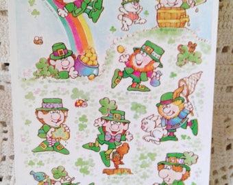 1984 Hallmark St. Patrick's Day Leprechaun Sticker Sheet
