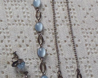 Vintage Moonstone Parure Sterling Silver WRE Bracelet, Necklace, Earrings