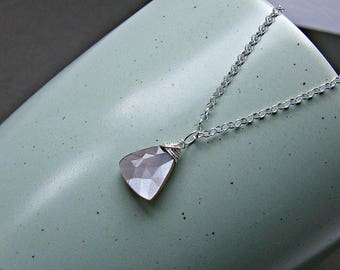 Natural moonstone necklace, gemstone triangle pendant, chocolate moonstone silver necklace, PETITE trillion silver wrapped brown moonstone