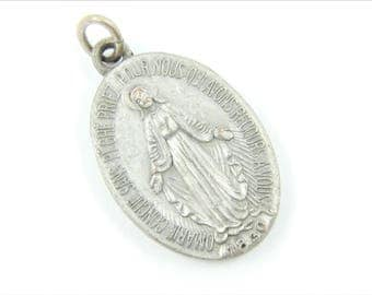Vintage French Miraculous Medal Catholic Medal - Silver Our Lady of Grace - Virgin Mary Religious Charm - Catholic Jewelry 033