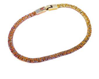 1960's Vintage Flat Nugget Style Bracelet, Gold Tone Metal, Rose Gold Patina, Minimalist Style, VisionsOfOlde