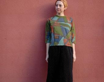 60s Blouse / Mod Blouse / Mod Shirt / Mod Top / Space Age Shirt / Mid Century Blouse / Geometric Top '/ Geometric Print