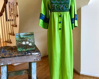 60s Arpeja CA Caftan Boho Maxi Dress Batik Pattern Bib Embroidered Zig Zag Rick Rack Festival Flower Child