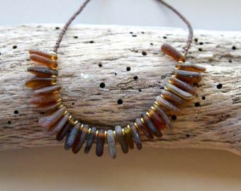 Amber Sea Glass Pebble Necklace Small Golden Brown Drops Genuine sea Glass Choker Ocean Beach Jewelry