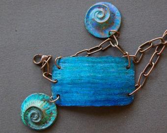 Ocean Blue Copper Cuff Bracelet w Hand Colored Brass Seashell Dangles Ocean Inspired Aqua Beach Bangle Adjustable w Antiqued Copper Chain