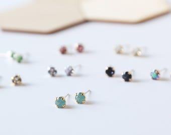 Tiny Square Sparkling Swarovski Studs - sparkle, under 30, bridesmaid gift, earring, post earring, tiny, minimalist, diamond, simple