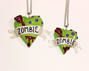 Mommy and Me Zombie Heart Necklace Set. Brains, walking dead,