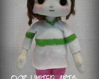 Chihiro Sen Inspired Spirited away Art doll cute Fantasy button eye Gift Handmade OOAK Collectible