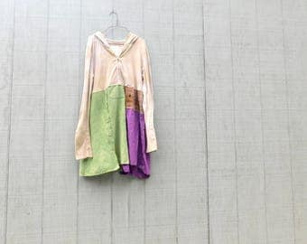 Romantic, Hoodie, Tunic, Upcycled Clothing, Recycled Shirt, Fun Clothes, Boho, Bohemian, Creme Brulee, Wearable Art, Repurposed Clothing
