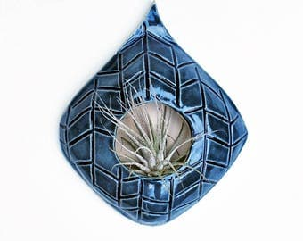 Blue Air Plant Wall Hanging - Ceramic Air Plant Holder - Chevron Design - Lauren Sumner Pottery - Gift for Plant Lovers