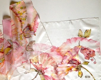 silk scarf hand painted woman silk scarf in pink shades scarf decorative pink flowers white background gift for her for mom