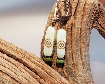 Ethnic Earrings, Bone Earrings, Bone Beaded Earrings, Turquoise Bead Earrings