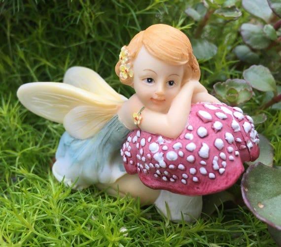 Fairy Figurine, Flower Fairy #4491, Resting on Mushroom, Fairy and Miniature Garden Decor, Shelf Sitter, Topper