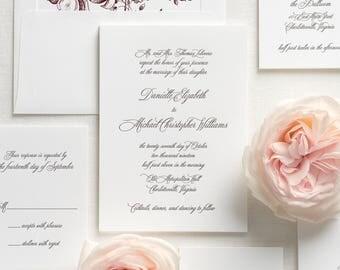 Danielle Letterpress Wedding Invitations - Deposit