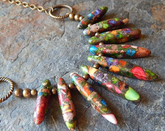 Colorful composite stone necklace - multicolor fan necklace - rainbow stone necklace - colorful bohemian jewelry - boho style brass necklace