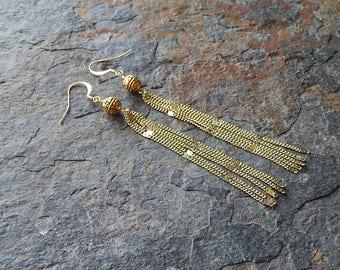 Long gold chain tassel earrings - fancy gold swinger earrings - 4 inch earring - dainty gold chain - holiday statement earring - boho chic