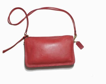 Vintage Coach Bag / Mini Coach Bag / Coach Basic Bag / Red Leather Coach Purse / NYC Coach / Coach Wristlet