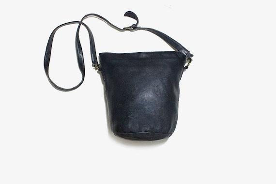 Vintage Leather Bucket Bag / Black Bucket Bag / Leather Shoulder Purse