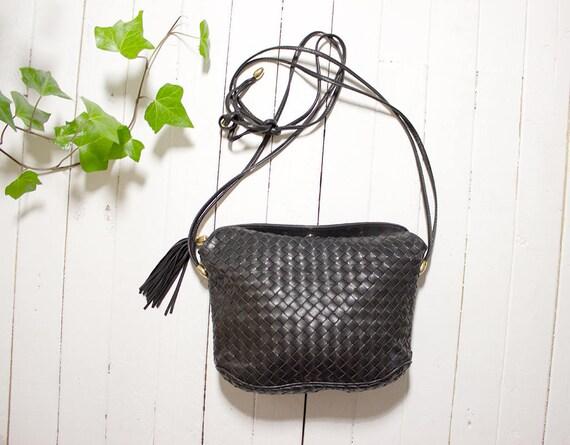 Vintage Leather Bucket Bag / Black Leather Bucket Bag / Mini Leather Bag / Italian Leather Purse / Mini Crossbody Purse