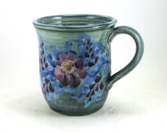Unique Coffee Mug - Blue Porcelain Tea Cup - Perfect for Floral Home Design - Handmade and Hand Painted