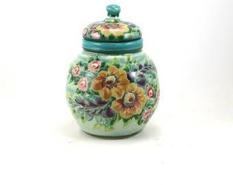 Covered Jar - Lidded Porcelain Flower Vase - Ceramic Urn with Floral Design - Stoneware Crock