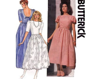 80s Prom Formal Cocktail Dress Butterick 3235 Vintage Sewing Pattern Puff or Flutter Sleeves Size 12 14 16  Bust 34 36 38 inches