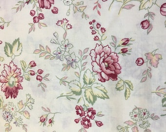 Vintage Fabric-Yardage Fabric Collection-Floral Quilting Fabric-Jasmine by P & B Textiles Fabrics-Quilters-Muted Soft White-Pink-Rose- Green