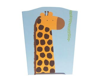 Wooden Waste Basket - Custom Hand Painted Children's Wood Garbage or Trash Can - Giraffe Jungle Safari Animals or Any Kid's Theme