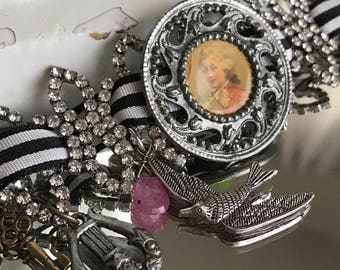 french prince - vintage assemblage bracelet portrait button rhinestone ribbon charms art deco, the french circus