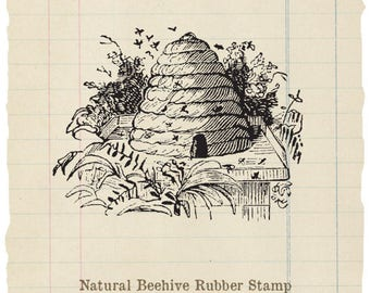 Natural Beehive Unmounted rubber stamp