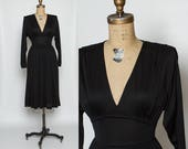 vintage 1970s black dress | 70s draped Tracy dress