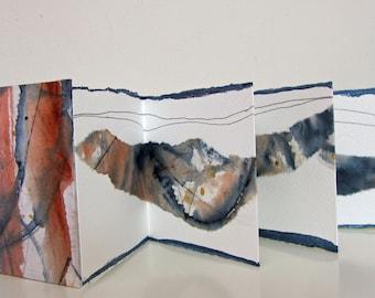 "Accordion/concertina art book - 4 1/4""x 4"" (11 x 10 1/2 cm)"