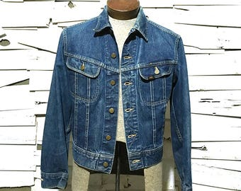 Vintage Lee Jean Jacket 101-J Sanforized Denim Union Made in USA - 38 Regular