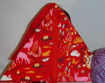 Red Woodland Creatures Pyramid - zippered, cosmetic, knitting/crochet project bag