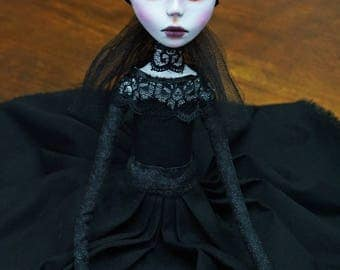 Handmade Collectible Unique -OOAK- Clay poseable Art doll -Denise