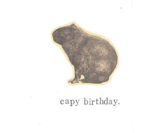 Capy Birthday Funny Capybara Card | Vintage Animal Humor Guinea Pig Rodent Nerdy Pun Happy Birthday Men Dad Weird Hipster Rustic For Him