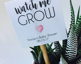 Personalized Watch Me Grow - Baby Shower Favor Printable Favor Tags - Shower Favor Tag Printable - Digital Favor Tags