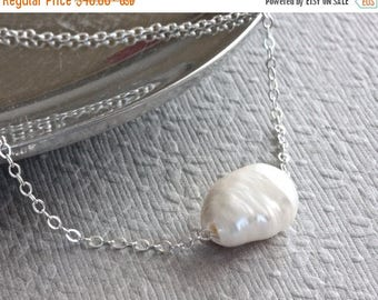 Floating Pearl Necklace, Freshwater Pearl Necklace, Large Baroque Pearl Necklace, White Pearl Necklace, Sterling Silver Jewelry for Women