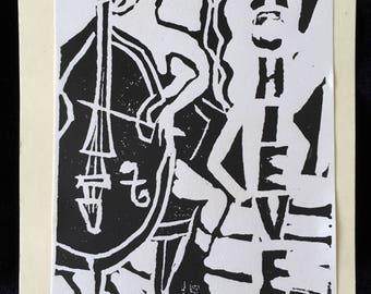 Achieve, limited edition linocut print