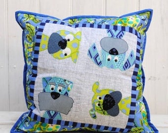 Woofers Dog Pillow Pattern by Claire Turpin - 3 Designs fat quarter friendly