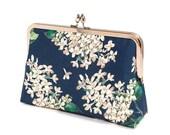 Midnight Blue clutch purse in Liberty print, Evening purse, Bridesmaid clutch, Weddings bride formal clutch purse, Bag Noir