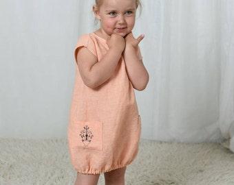 Linen dress girls, summer linen dress, girls dresses, orange dress, girls summer dress, toddler dress, baby girl dress, flower girl dress