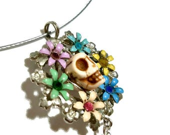 Dia De Los Muertos Skull Pendant Necklace, Colorful Sugar Skull Day of the Dead Jewelry, Upcycled Vintage Wreath Flowers