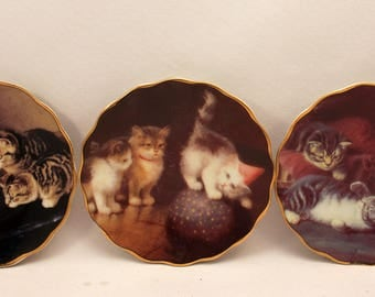 3 Mini Cat Plates Small Collector Plate Set Cute Kittens by 1898 China Company