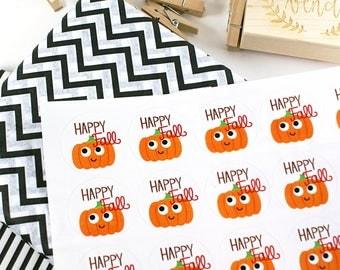 Shop Exclusive - HAPPY FALL Kawaii smiling pumpkin - cute fall themed stickers, pumpkin patch, happy mail sticker